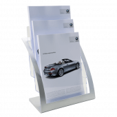 A4 Silver Contemporary Three Tier Magazine Holder