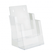 Two tier A5 leaflet holder suitable for counterstanding and wall mounting