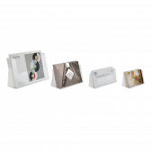 Landscape counterstanding leaflet holders in A4, A5, 1/3 A4 and A6
