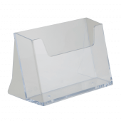Landscape leaflet holder in clear styrene