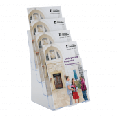 Four tier leaflet holder for A4 leaflets - also available in 1/3 A4 and A5