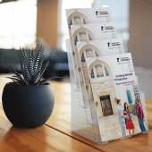 Four tier leaflet holder for A4 leaflets