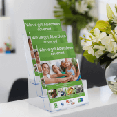 A4 leaflet holder made from clear styrene