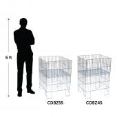 Retail wire dump bins in rectangular or square designs