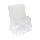 Counterstanding leaflet holder in portrait with removable divider