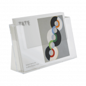 A4 landscape leaflet holder for counterstanding or wall mounting