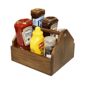 Wooden Condiment Holder for sauces and cutlery