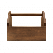Wooden condiment caddy with handle for restaurants and pubs
