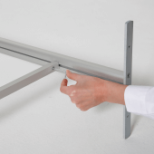 Counter standing perspex sneeze guard with adjustable screen height
