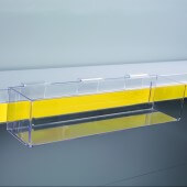 Clear Merchandising Tray for shelf edge displays, supplied with a data strip