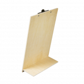 Wooden menu holder with bulldog clip