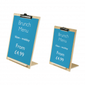 Counterstanding wooden menu or poster holder with bulldog clip