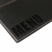 The front of the menu cover features modern glossy print