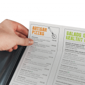 Menu sleeves inside the menu cover let you insert your menu pages