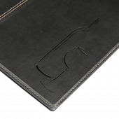 Black faux leather wine list book