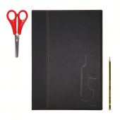 A4 black leather wine list cover