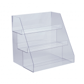 Acrylic display stand for counters with 3 tiers