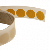 Clear adhesive dots for securing point of sale displays