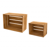 Wooden Display Crates with a light oak finish
