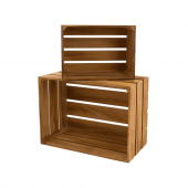 Wooden Display Crates with a light oak stain