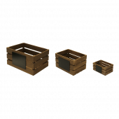 Wooden Display Crates with a dark oak finish and chalkboards