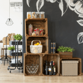 Wooden Display Crates for a rustic merchandising display