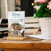 Menu holder with Qr code menu insert