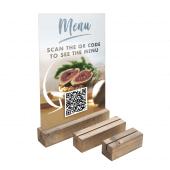 Wooden Card Holder Base with QR code menu insert