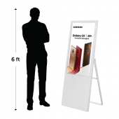 Our freestanding digital signage is just over five feet high