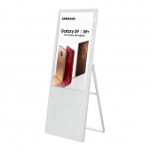 Tall digital advertising board in white