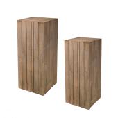 Brown Wooden Plinth Display Set