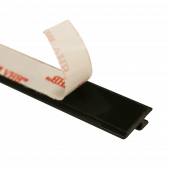 The shelf pusher fixing rail is supplied with adhesive backing