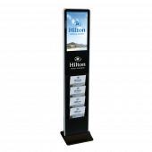 This freestanding digital signage is available with optional branding