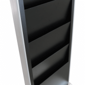 Freestanding digital signage with four tier magazine rack