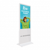 Digital signage totem with optional branding (select from dropdown)