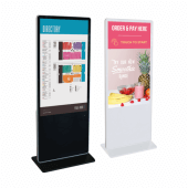 Freestanding touchscreen digital signage available in black or white