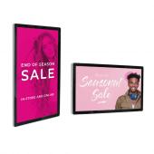 Wall mounted digital advertising screen in portrait or landscape