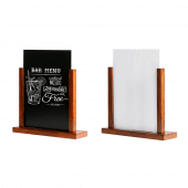 Wooden menu holder with a PET or chalkboard insert