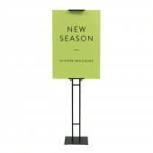 Adjustable poster stand, available with printed poster boards