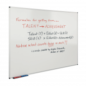 Whiteboard suitable for use with drywipe markers and magnets