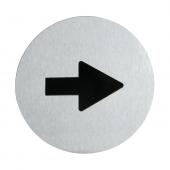 Stainless steel arrow door sign