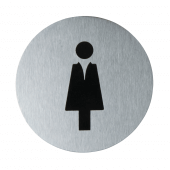 Ladies' toilet sign in brushed stainless steel