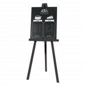 Black Easel with Branded Chalkboard