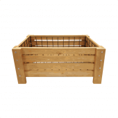 Wooden display crates with a rustic pine construction and reinforced corners