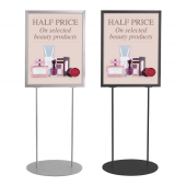 Display board A1 free standing unit in a choice of silver and black