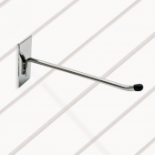 Single prong slatwall hook with rubber end stop