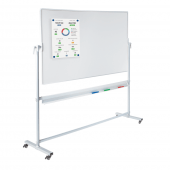 Freestanding whiteboard on wheels for a portable display