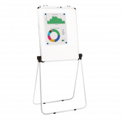 Flip chart easel with magnetic whiteboard for multipurpose presentations