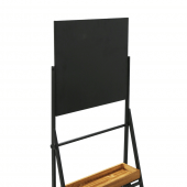Ladder style shelving display with chalkboard header