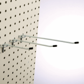 Single prong merchandising hook for pegboards